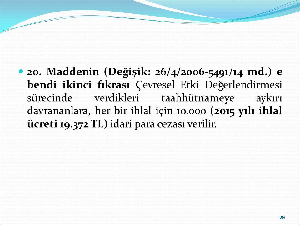 2015 ÇED RAPORU VE PTD FORMAT BEDELLERİ GELİR KOD NO.