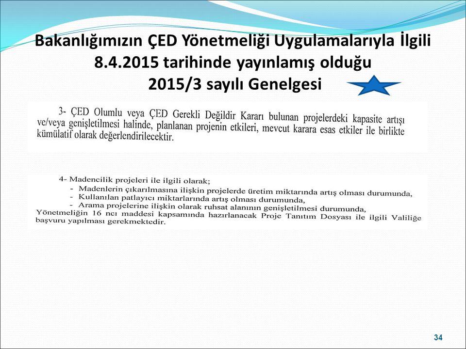 Bakanlığımızın ÇED Yönetmeliği Uygulamalarıyla İlgili 8.4.2015 tarihinde yayınlamış olduğu 2015/3 sayılı Genelgesi 34