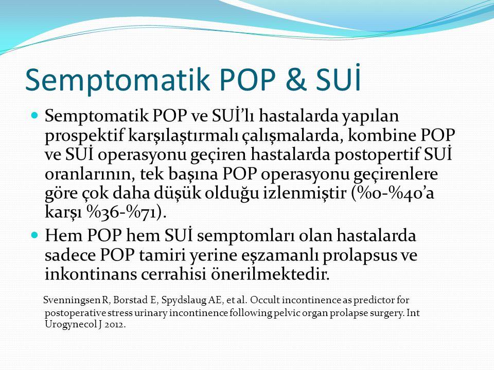 Semptomatik POP & SUİ Semptomatik POP ve SUİ'lı hastalarda yapılan prospektif karşılaştırmalı çalışmalarda, kombine POP ve SUİ operasyonu geçiren hast