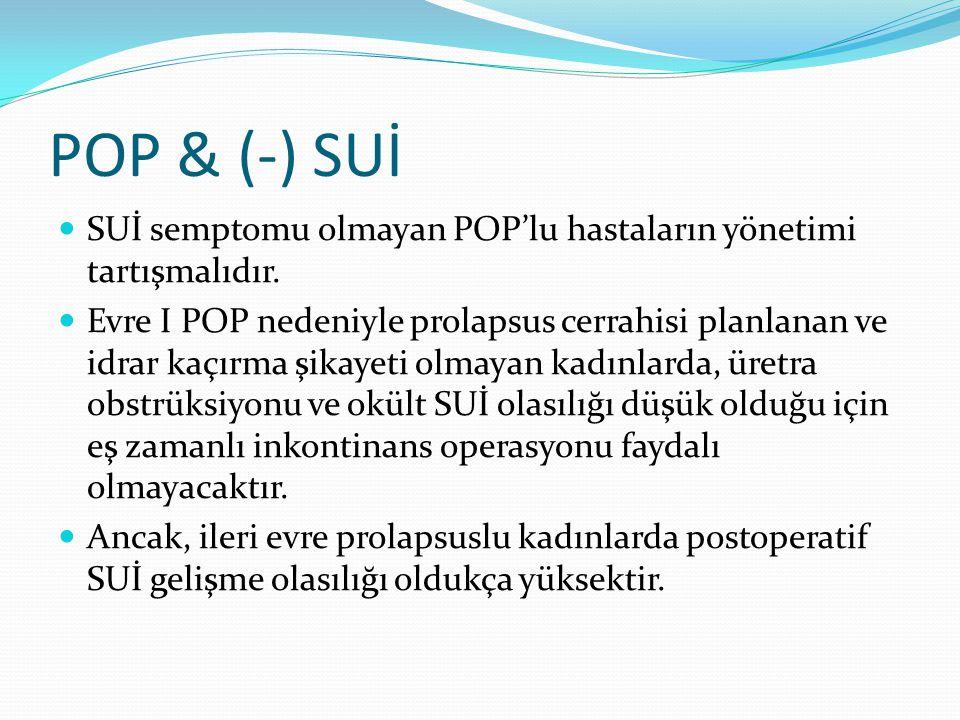 POP & (-) SUİ SUİ semptomu olmayan POP'lu hastaların yönetimi tartışmalıdır. Evre I POP nedeniyle prolapsus cerrahisi planlanan ve idrar kaçırma şikay