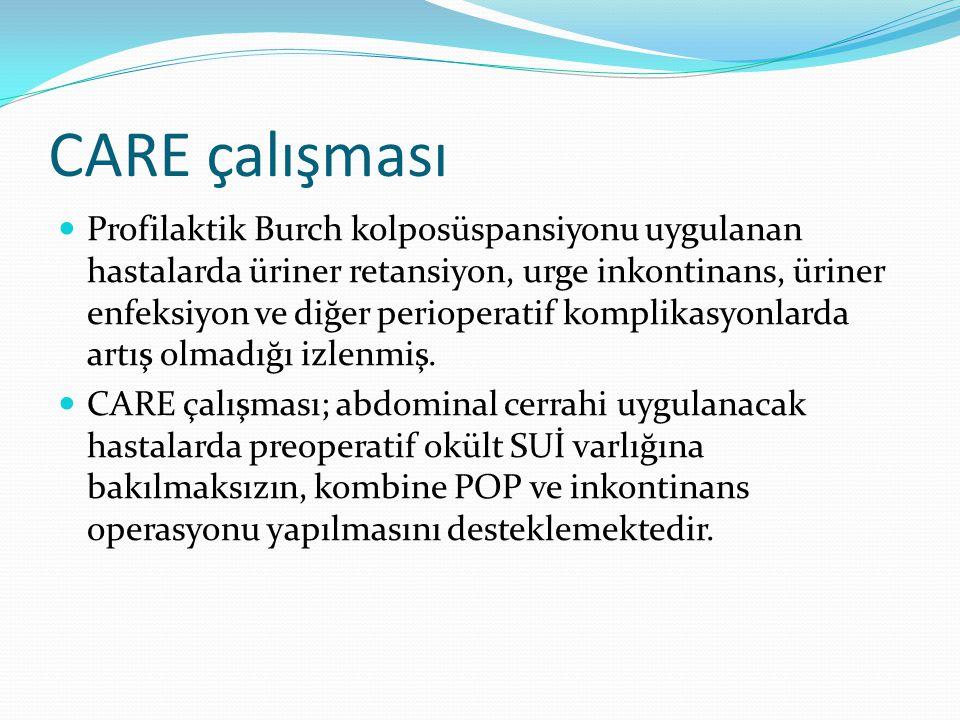 CARE çalışması Profilaktik Burch kolposüspansiyonu uygulanan hastalarda üriner retansiyon, urge inkontinans, üriner enfeksiyon ve diğer perioperatif k
