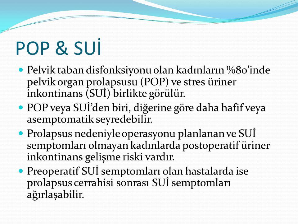 Okült SUİ Evre II ve üzeri POP'u olan ve preoperatif değerlendirmede okült SUİ saptanan hastalarda tek başına prolapsus cerrahisi yerine prolapsus ve SUİ'ye yönelik kombine cerrahi önerilmektedir.