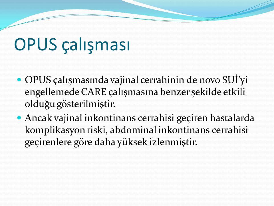 OPUS çalışması OPUS çalışmasında vajinal cerrahinin de novo SUİ'yi engellemede CARE çalışmasına benzer şekilde etkili olduğu gösterilmiştir. Ancak vaj