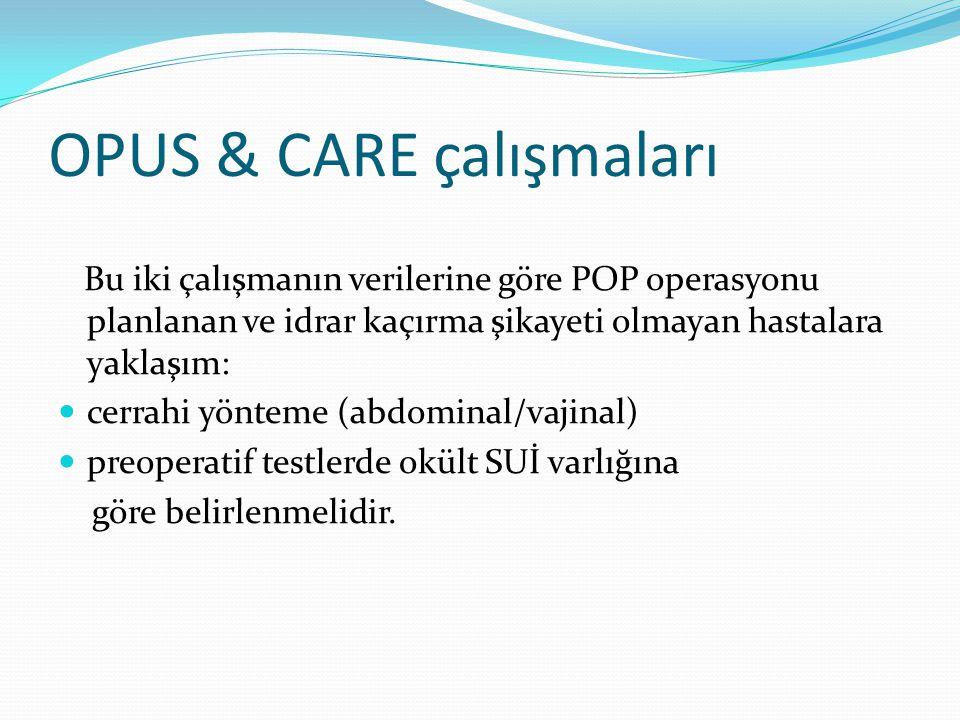 OPUS & CARE çalışmaları Bu iki çalışmanın verilerine göre POP operasyonu planlanan ve idrar kaçırma şikayeti olmayan hastalara yaklaşım: cerrahi yönte