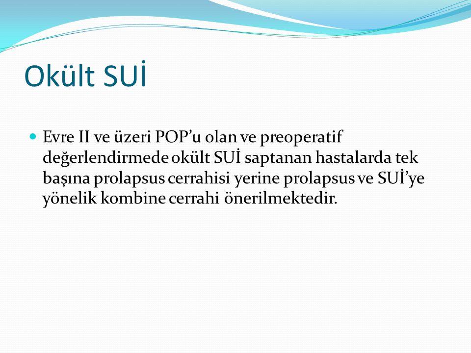 Okült SUİ Evre II ve üzeri POP'u olan ve preoperatif değerlendirmede okült SUİ saptanan hastalarda tek başına prolapsus cerrahisi yerine prolapsus ve