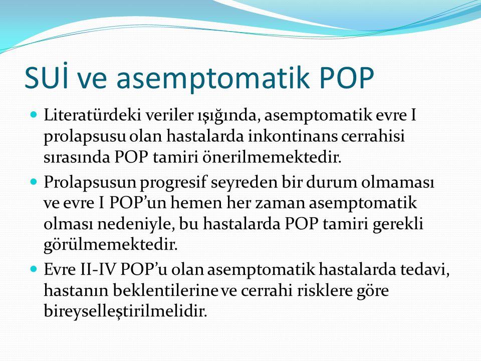 SUİ ve asemptomatik POP Literatürdeki veriler ışığında, asemptomatik evre I prolapsusu olan hastalarda inkontinans cerrahisi sırasında POP tamiri öner