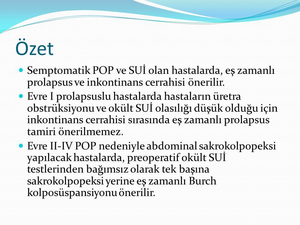 Özet Semptomatik POP ve SUİ olan hastalarda, eş zamanlı prolapsus ve inkontinans cerrahisi önerilir. Evre I prolapsuslu hastalarda hastaların üretra o