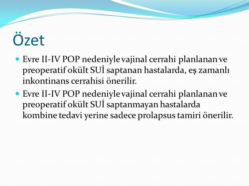 Özet Evre II-IV POP nedeniyle vajinal cerrahi planlanan ve preoperatif okült SUİ saptanan hastalarda, eş zamanlı inkontinans cerrahisi önerilir. Evre