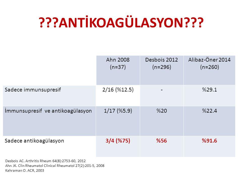 ???ANTİKOAGÜLASYON??? Ahn 2008 (n=37) Desbois 2012 (n=296) Alibaz-Öner 2014 (n=260) Sadece immunsupresif2/16 (%12.5)-%29.1 İmmunsupresif ve antikoagül