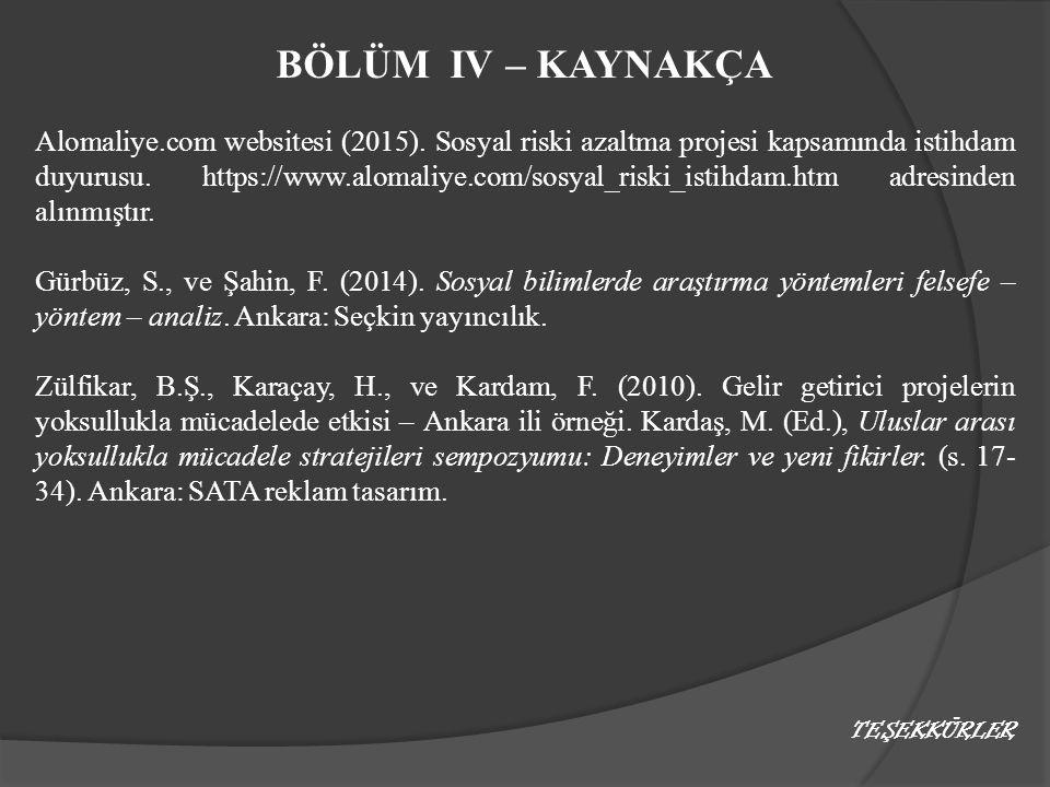 BÖLÜM IV – KAYNAKÇA Alomaliye.com websitesi (2015). Sosyal riski azaltma projesi kapsamında istihdam duyurusu. https://www.alomaliye.com/sosyal_riski_