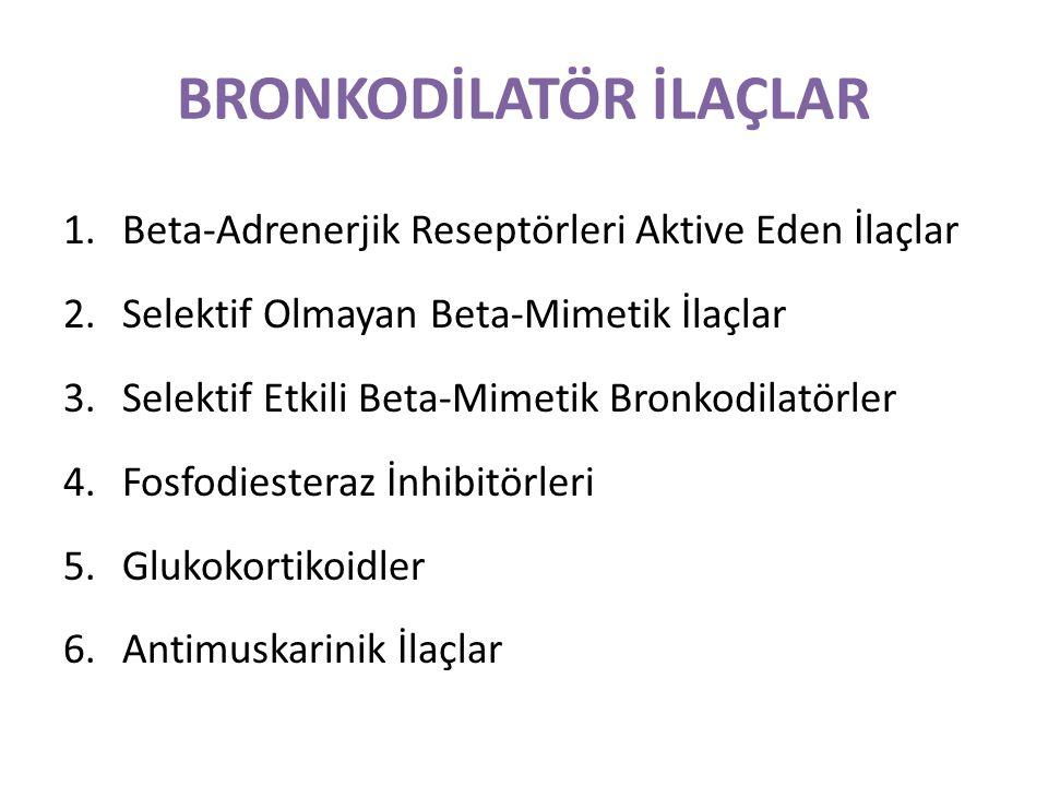 1.Beta-Adrenerjik Reseptörleri Aktive Eden İlaçlar Bu grup ilaçlar, bronş düz kaslarının β2 reseptörlerini uyararak bronş ve bronşiyolleri genişletirler.