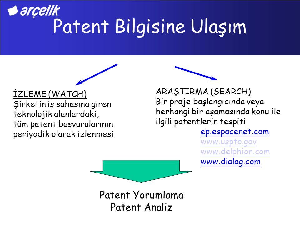 Patent Bilgisine Ulaşım İZLEME (WATCH) Şirketin iş sahasına giren teknolojik alanlardaki, tüm patent başvurularının periyodik olarak izlenmesi ARAŞTIR