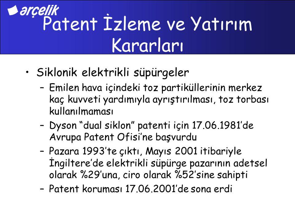 Patent İzleme ve Yatırım Kararları Siklonik elektrikli süpürgeler –Emilen hava içindeki toz partiküllerinin merkez kaç kuvveti yardımıyla ayrıştırılma