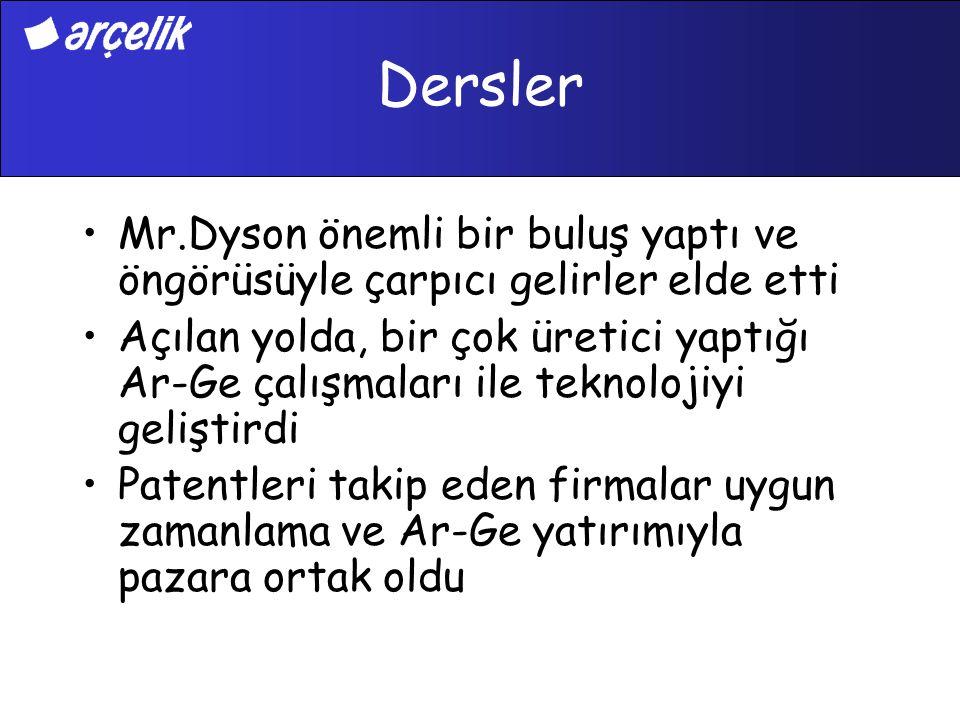 Dersler Mr.Dyson önemli bir buluş yaptı ve öngörüsüyle çarpıcı gelirler elde etti Açılan yolda, bir çok üretici yaptığı Ar-Ge çalışmaları ile teknoloj
