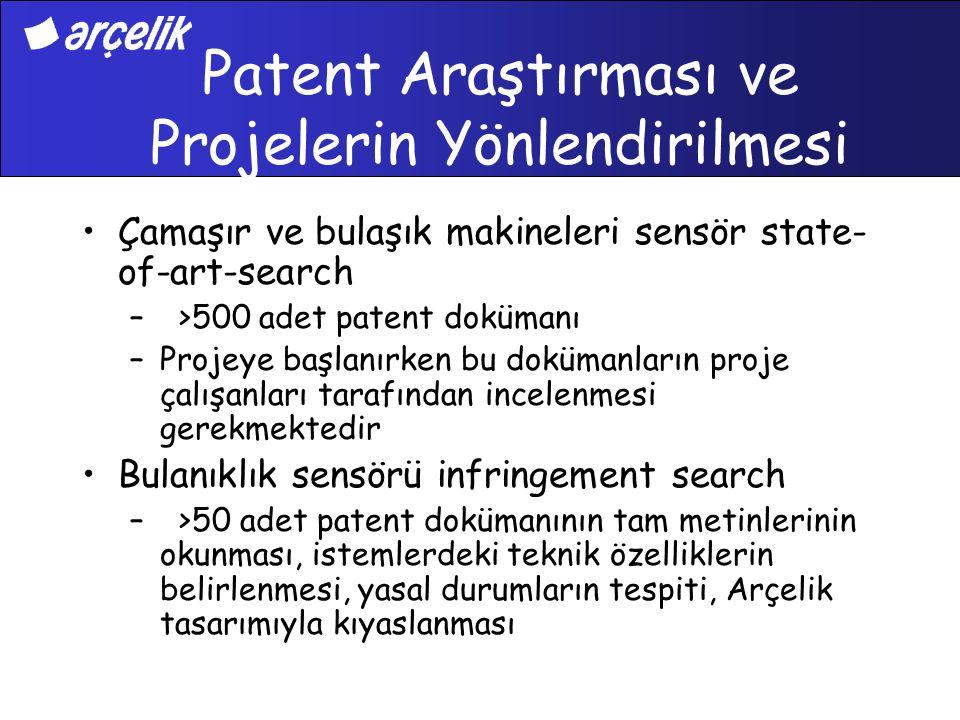 Patent Araştırması ve Projelerin Yönlendirilmesi Çamaşır ve bulaşık makineleri sensör state- of-art-search – >500 adet patent dokümanı –Projeye başlan