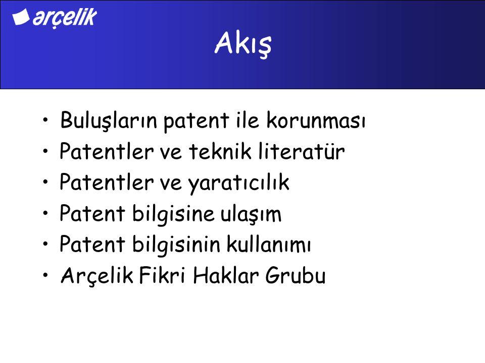 Akış Buluşların patent ile korunması Patentler ve teknik literatür Patentler ve yaratıcılık Patent bilgisine ulaşım Patent bilgisinin kullanımı Arçeli