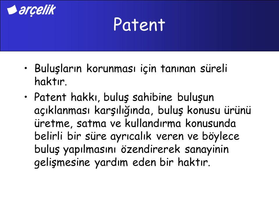 Patent Buluşların korunması için tanınan süreli haktır. Patent hakkı, buluş sahibine buluşun açıklanması karşılığında, buluş konusu ürünü üretme, satm