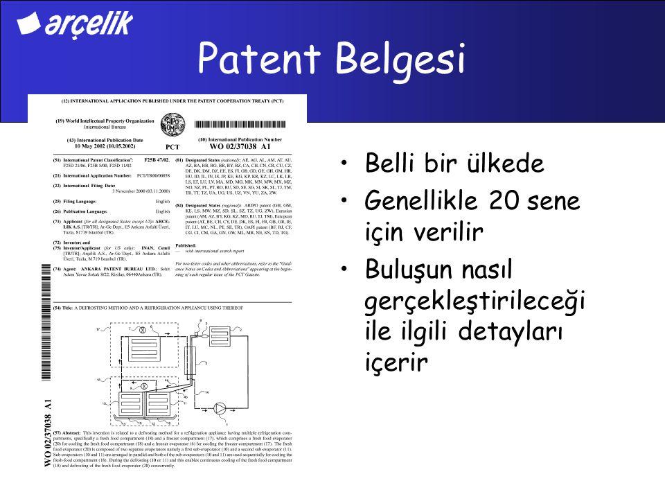 Patent Belgesi Belli bir ülkede Genellikle 20 sene için verilir Buluşun nasıl gerçekleştirileceği ile ilgili detayları içerir