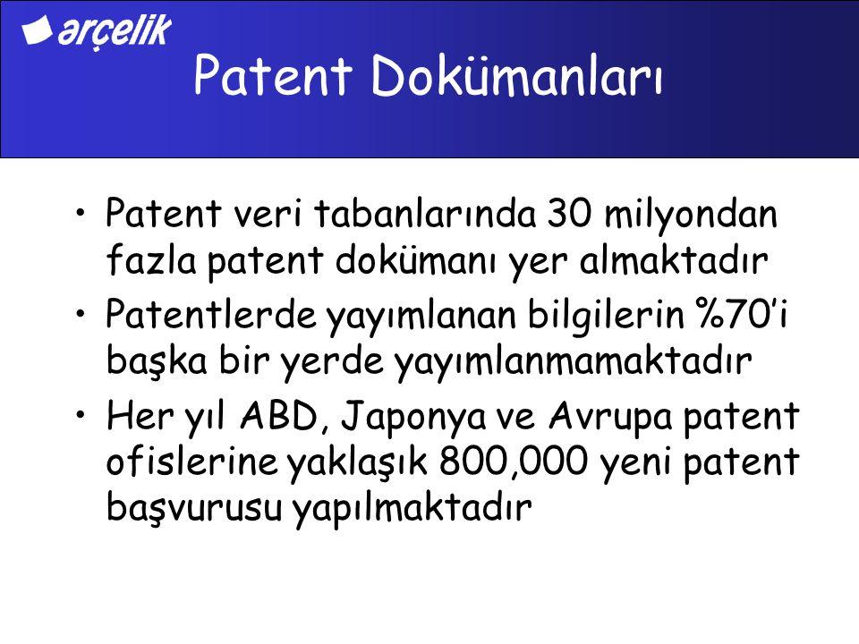 Patent Dokümanları Patent veri tabanlarında 30 milyondan fazla patent dokümanı yer almaktadır Patentlerde yayımlanan bilgilerin %70'i başka bir yerde