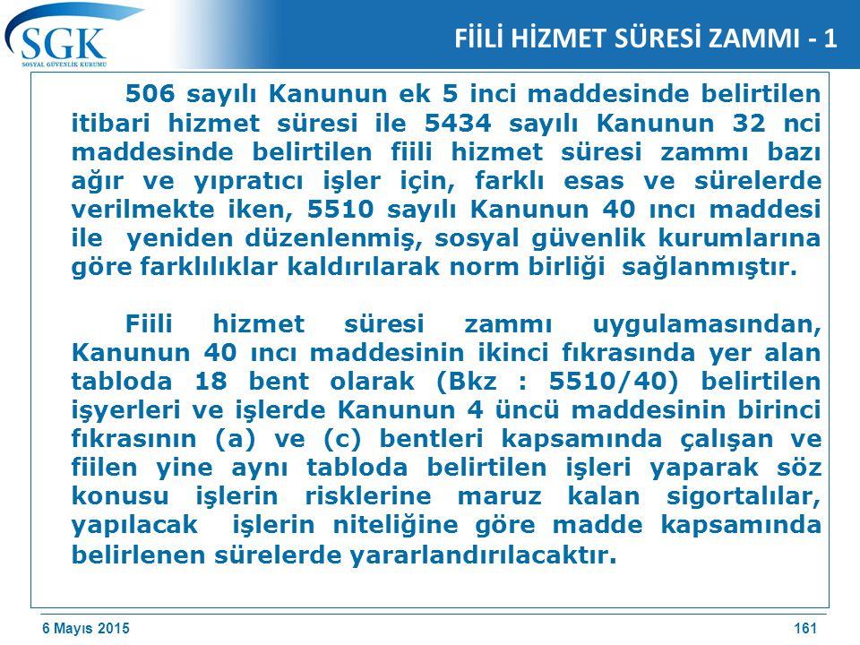 6 Mayıs 2015 FİİLİ HİZMET SÜRESİ ZAMMI - 1 506 sayılı Kanunun ek 5 inci maddesinde belirtilen itibari hizmet süresi ile 5434 sayılı Kanunun 32 nci maddesinde belirtilen fiili hizmet süresi zammı bazı ağır ve yıpratıcı işler için, farklı esas ve sürelerde verilmekte iken, 5510 sayılı Kanunun 40 ıncı maddesi ile yeniden düzenlenmiş, sosyal güvenlik kurumlarına göre farklılıklar kaldırılarak norm birliği sağlanmıştır.