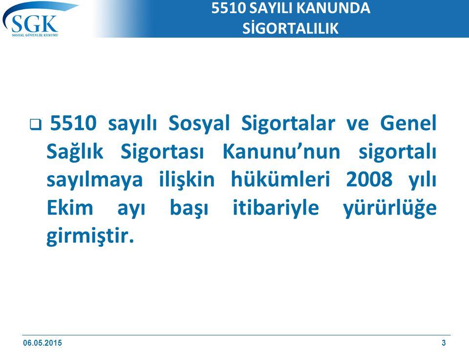 5510 SAYILI KANUNDA SİGORTALILIK  5510 sayılı Sosyal Sigortalar ve Genel Sağlık Sigortası Kanunu'nun sigortalı sayılmaya ilişkin hükümleri 2008 yılı Ekim ayı başı itibariyle yürürlüğe girmiştir.