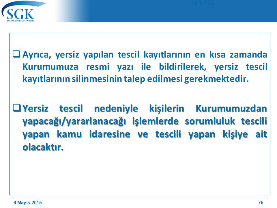 6 Mayıs 2015  Ayrıca, yersiz yapılan tescil kayıtlarının en kısa zamanda Kurumumuza resmi yazı ile bildirilerek, yersiz tescil kayıtlarının silinmesinin talep edilmesi gerekmektedir.