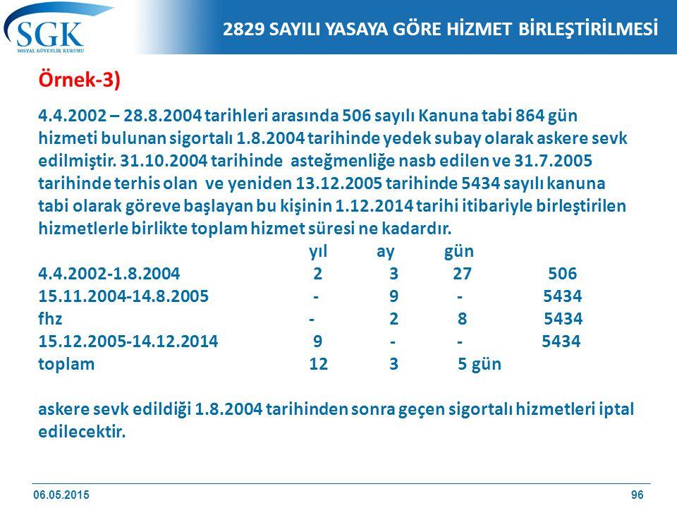 Örnek-3) 4.4.2002 – 28.8.2004 tarihleri arasında 506 sayılı Kanuna tabi 864 gün hizmeti bulunan sigortalı 1.8.2004 tarihinde yedek subay olarak askere sevk edilmiştir.