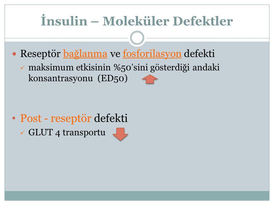 İnsulin – Moleküler Defektler Reseptör bağlanma ve fosforilasyon defekti maksimum etkisinin %50 ' sini gösterdiği andaki konsantrasyonu (ED50) Post -