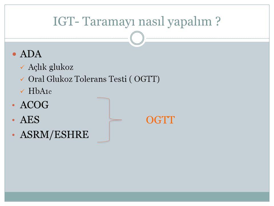 IGT- Taramayı nasıl yapalım ? ADA Açlık glukoz Oral Glukoz Tolerans Testi ( OGTT) HbA 1 c ACOG AES ASRM/ESHRE OGTT