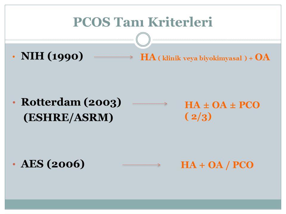 PCOS Tanı Kriterleri NIH (1990) Rotterdam (2003) (ESHRE/ASRM) AES (2006) HA ( klinik veya biyokimyasal ) + OA HA ± OA ± PCO ( 2/3) HA + OA / PCO