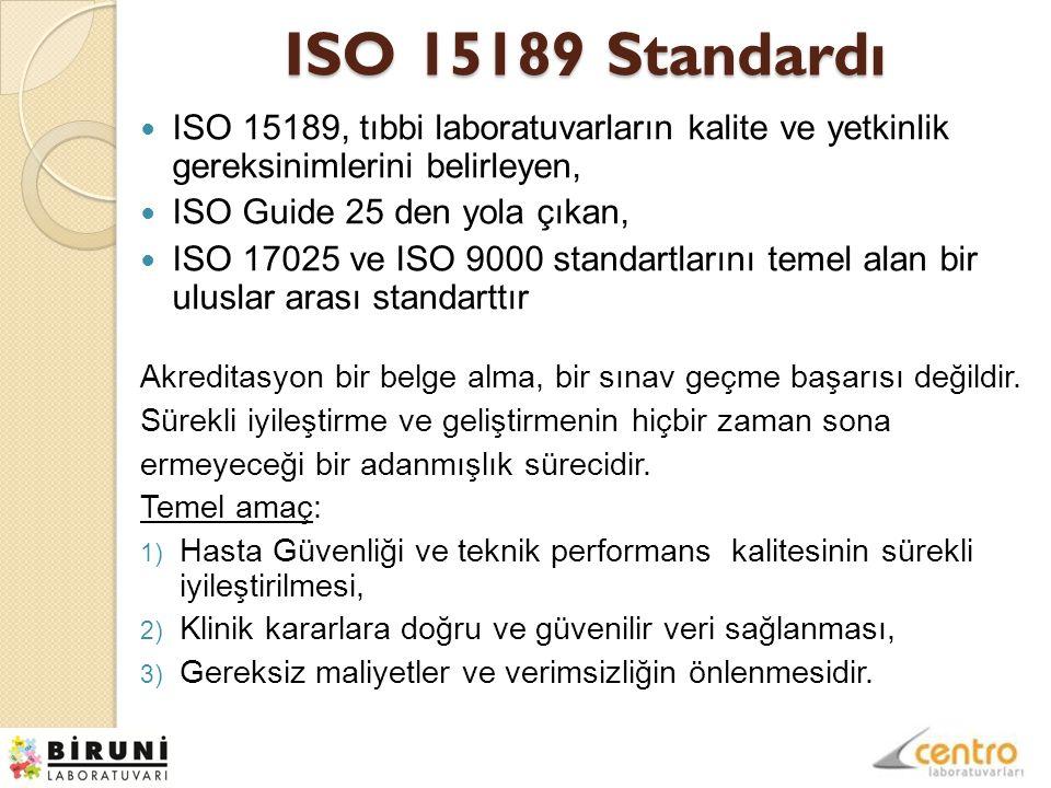 ISO 15189 Standardı ISO 15189, tıbbi laboratuvarların kalite ve yetkinlik gereksinimlerini belirleyen, ISO Guide 25 den yola çıkan, ISO 17025 ve ISO 9