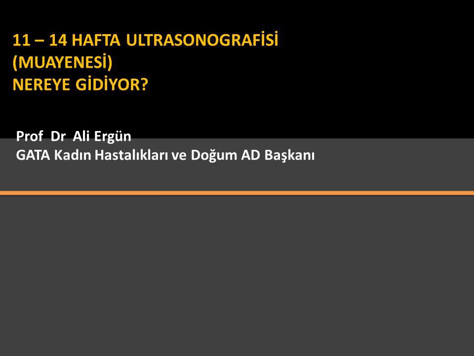 Prof Dr Ali Ergün GATA Kadın Hastalıkları ve Doğum AD Başkanı 11 – 14 HAFTA ULTRASONOGRAFİSİ (MUAYENESİ) NEREYE GİDİYOR?