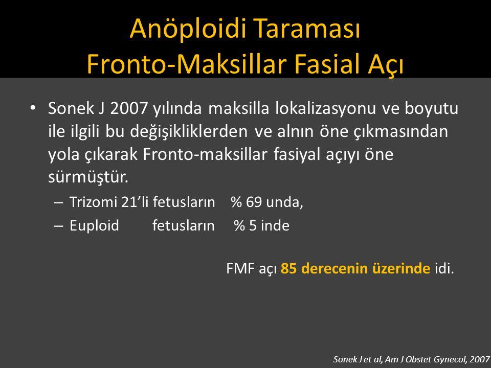 Anöploidi Taraması Fronto-Maksillar Fasial Açı Sonek J 2007 yılında maksilla lokalizasyonu ve boyutu ile ilgili bu değişikliklerden ve alnın öne çıkma