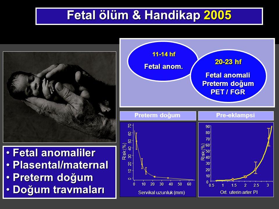 Gözlemsel (non-disclosure) fetal NT tarama Bewley 19951,7043.0 mm6.0%1 of 3 (33%) 8-13 wks 34% Kornman 1996 9233.0 mm6.3%2 of 4 (50%) 8-13 wks 42% Haddow 1998 3,991 95 th centile 5.0% 18 of 58 (31%) 9-15 wks17% Crossley 200217,229 -5.0% 20 of 37 (54%)10-14 wks 27% Wald 2003 47,053 -5.0%?29 of 101 6-16 wks 18% * Çalışman NT cut-off FPR Detection Tr21 Gestasyon Ölçüm yok..