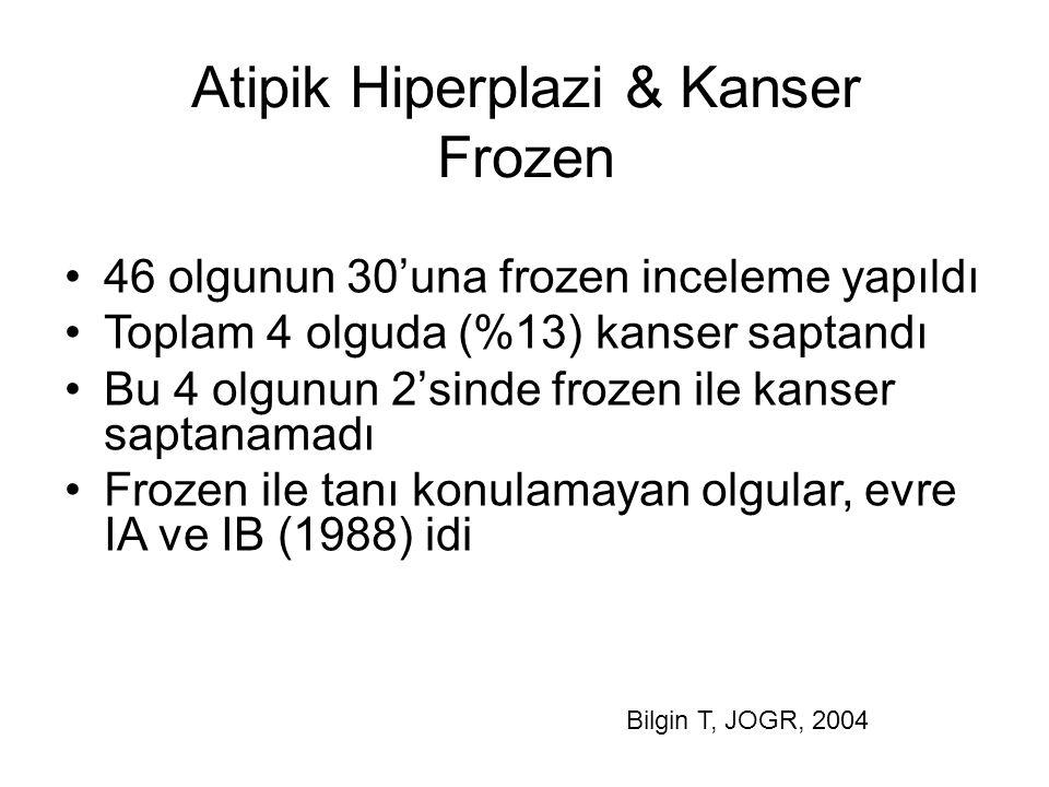 Atipik Hiperplazi & Kanser Frozen 46 olgunun 30'una frozen inceleme yapıldı Toplam 4 olguda (%13) kanser saptandı Bu 4 olgunun 2'sinde frozen ile kans