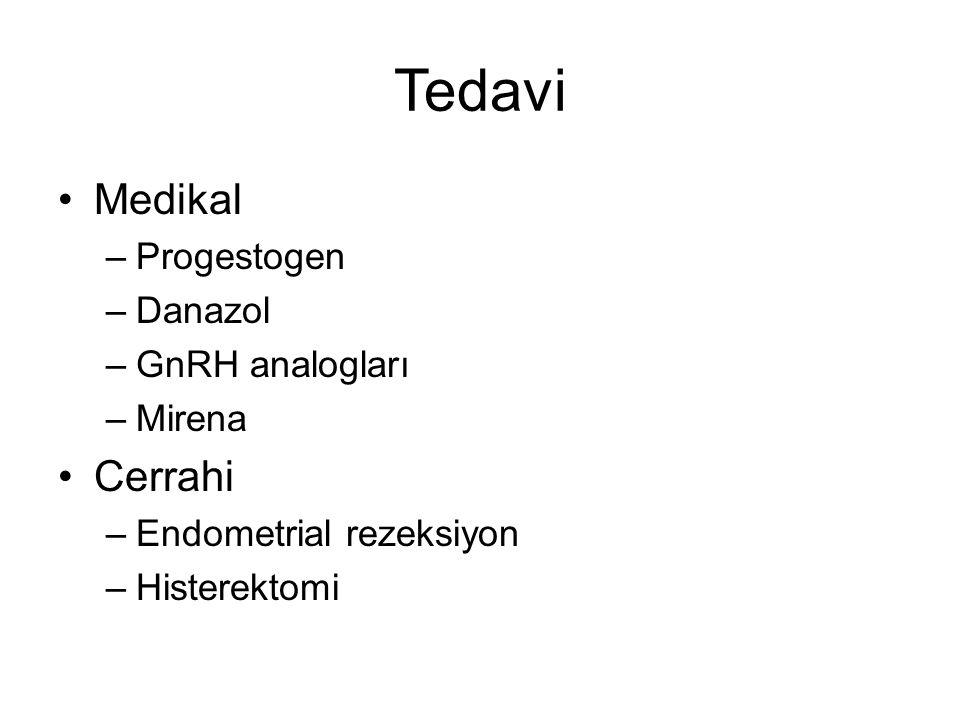 Tedavi Medikal –Progestogen –Danazol –GnRH analogları –Mirena Cerrahi –Endometrial rezeksiyon –Histerektomi