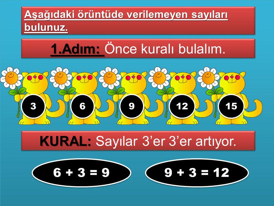 3366????1515 1.Adım: 1.Adım: Önce kuralı bulalım. Aşağıdaki örüntüde verilemeyen sayıları bulunuz. KURAL: KURAL: Sayılar 3'er 3'er artıyor. 6 + 3 = 9