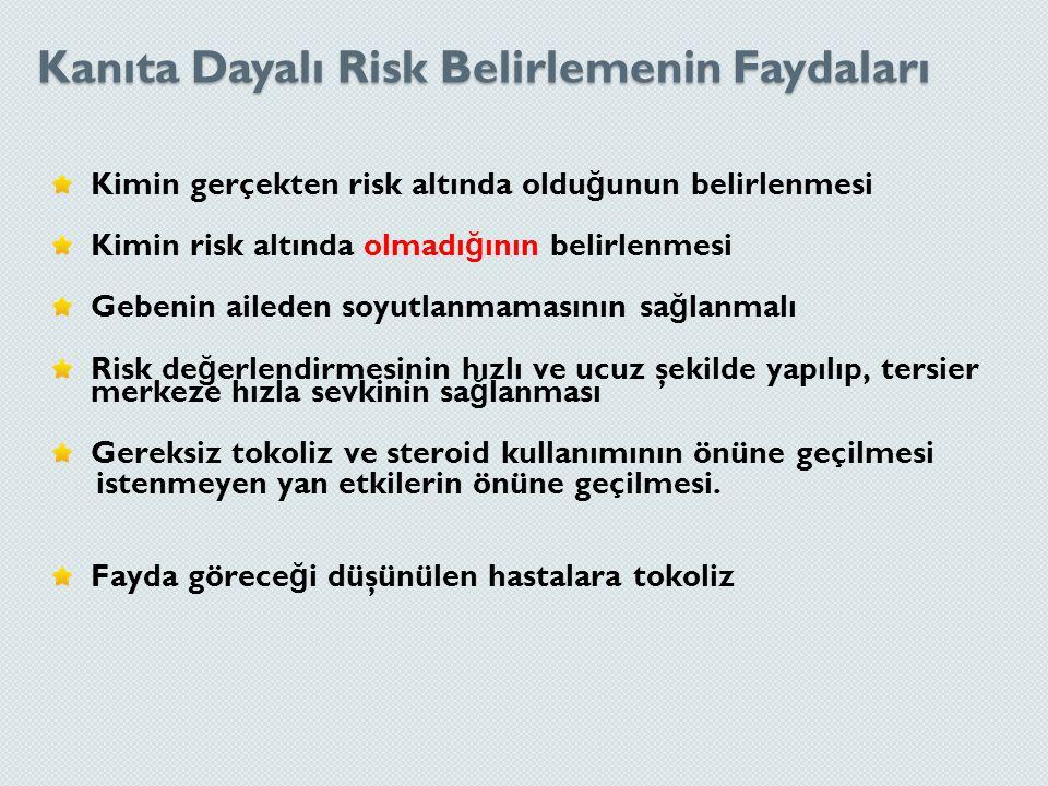 Kanıta Dayalı Risk Belirlemenin Faydaları Kimin gerçekten risk altında oldu ğ unun belirlenmesi Kimin risk altında olmadı ğ ının belirlenmesi Gebenin