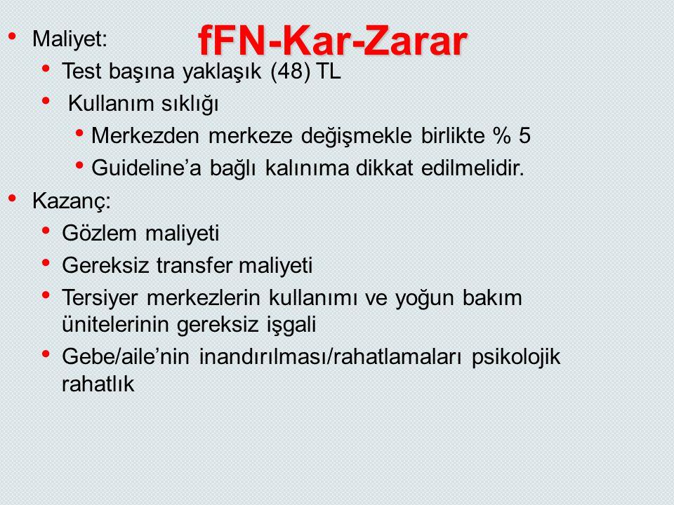 fFN-Kar-Zarar Maliyet: Test başına yaklaşık (48) TL Kullanım sıklığı Merkezden merkeze değişmekle birlikte % 5 Guideline'a bağlı kalınıma dikkat edilm