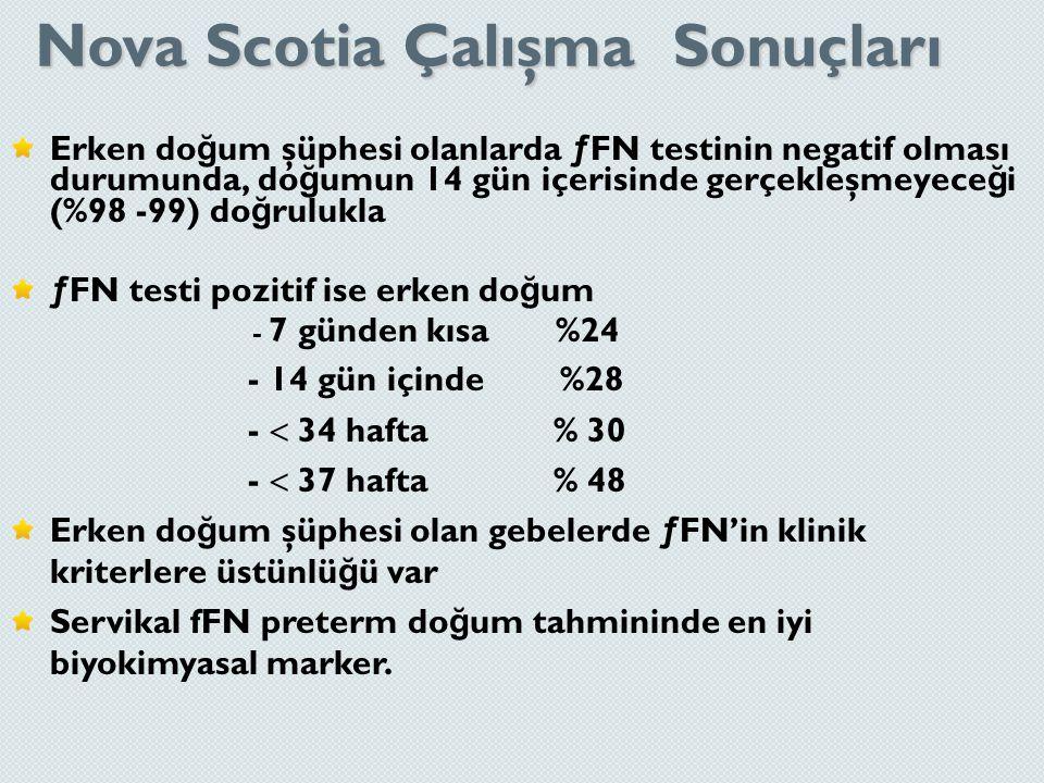 Nova Scotia Çalışma Sonuçları Erken do ğ um şüphesi olanlarda ƒFN testinin negatif olması durumunda, do ğ umun 14 gün içerisinde gerçekleşmeyece ğ i (
