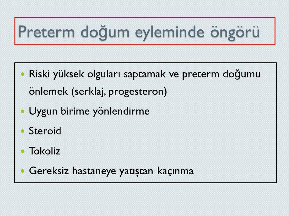 Kullanılan Yöntemler Risk faktörü skorlama sistemi Uterin aktivite monitorizasyonu Tükrük östriol düzeyi Bakteriyel vaginozis taraması Fetal fibronektin taraması (fFN) Servikal uzunluk ölçümü (TVUS) Amniyotik sıvıda tortu (sludge)?