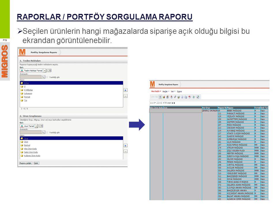 RAPORLAR / PORTFÖY SORGULAMA RAPORU  Seçilen ürünlerin hangi mağazalarda siparişe açık olduğu bilgisi bu ekrandan görüntülenebilir. P19