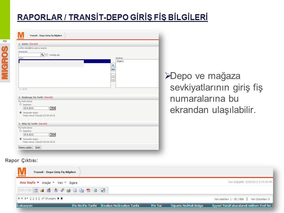 RAPORLAR / TRANSİT-DEPO GİRİŞ FİŞ BİLGİLERİ  Depo ve mağaza sevkiyatlarının giriş fiş numaralarına bu ekrandan ulaşılabilir. P23 Rapor Çıktısı: