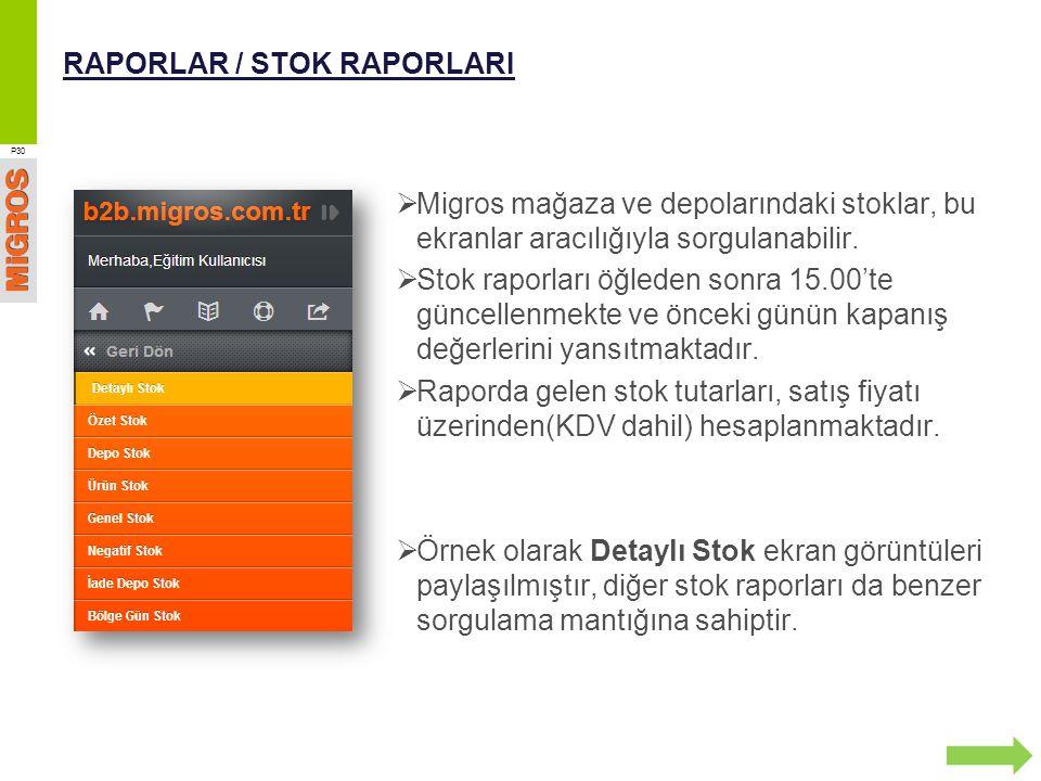 RAPORLAR / STOK RAPORLARI  Migros mağaza ve depolarındaki stoklar, bu ekranlar aracılığıyla sorgulanabilir.  Stok raporları öğleden sonra 15.00'te g