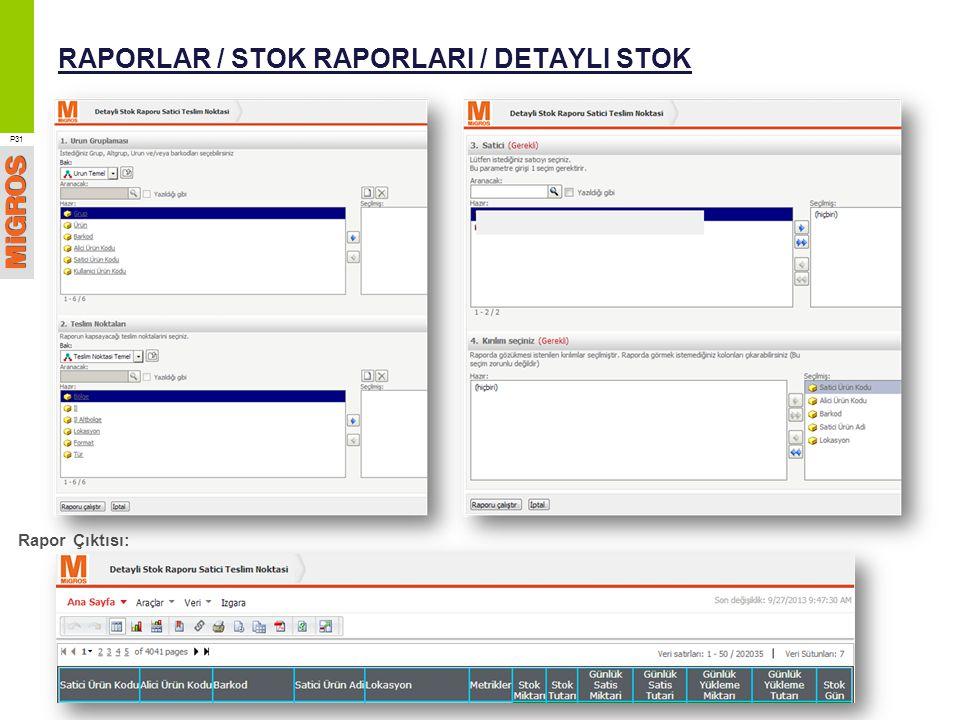 RAPORLAR / STOK RAPORLARI / DETAYLI STOK P31 Rapor Çıktısı: