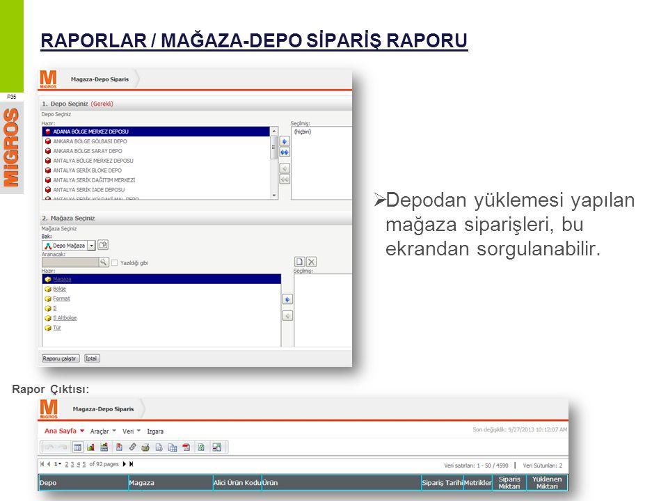 RAPORLAR / MAĞAZA-DEPO SİPARİŞ RAPORU  Depodan yüklemesi yapılan mağaza siparişleri, bu ekrandan sorgulanabilir. P35 Rapor Çıktısı: