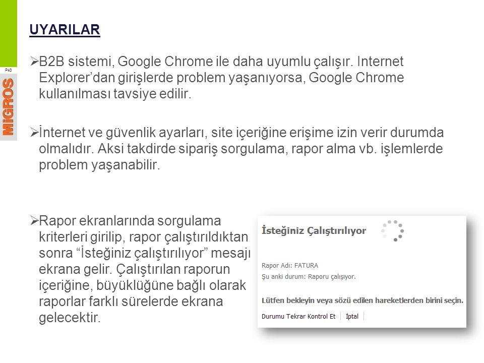 UYARILAR  B2B sistemi, Google Chrome ile daha uyumlu çalışır. Internet Explorer'dan girişlerde problem yaşanıyorsa, Google Chrome kullanılması tavsiy
