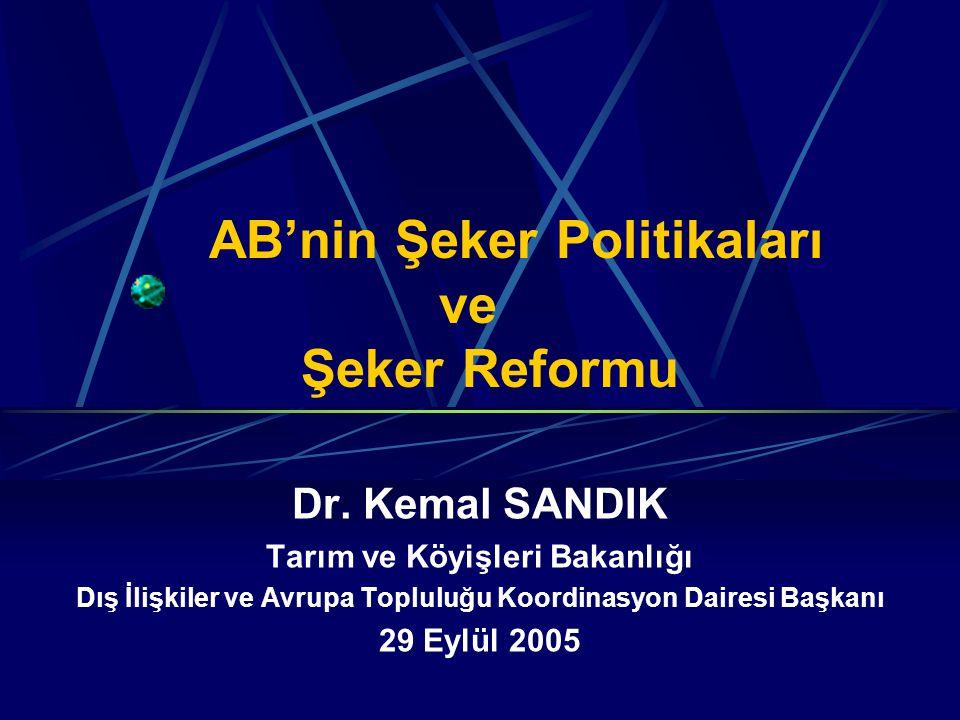 AB'nin Şeker Politikaları ve Şeker Reformu Dr.