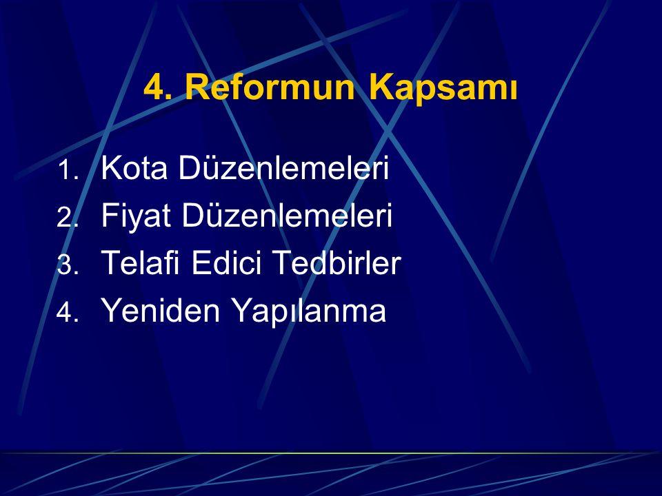 4.Reformun Kapsamı 1. Kota Düzenlemeleri 2. Fiyat Düzenlemeleri 3.