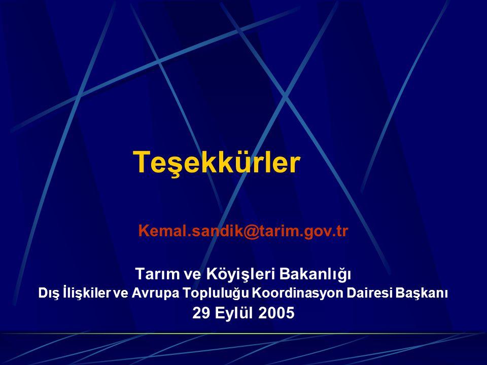Teşekkürler Kemal.sandik@tarim.gov.tr Tarım ve Köyişleri Bakanlığı Dış İlişkiler ve Avrupa Topluluğu Koordinasyon Dairesi Başkanı 29 Eylül 2005